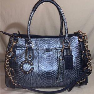 Coach Sierra Carryall Bag Cobalt Blue Leather EUC